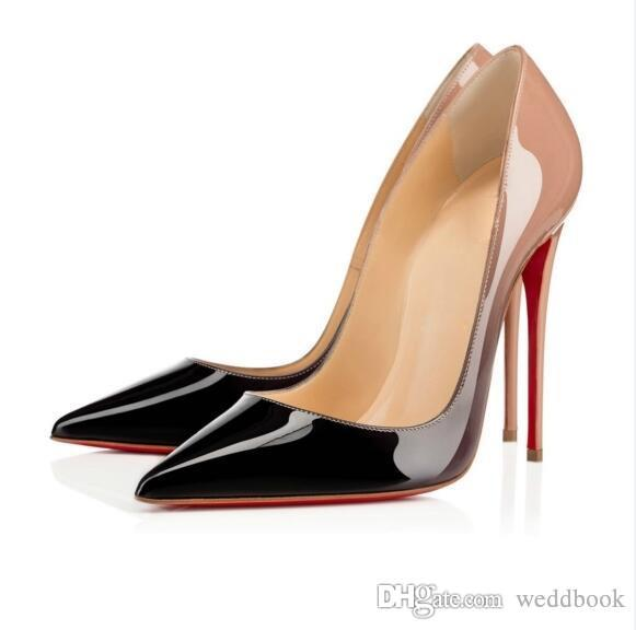 98f737bebf33 Classic Brand Women Pumps Pointed Toes Red Bottom Dress Shoes ...