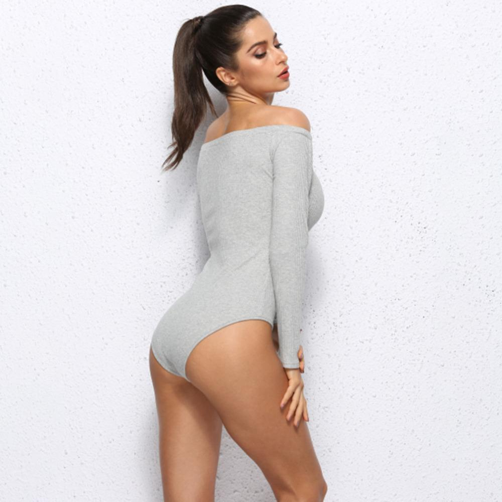 GAOKE Off Shoulder Bodycon Bodysuits Feminino Mujer Sexy Stretchy Rompers  Long Sleeve Women Autumn Winter Jumpsuit Top One Piece Black Dressed Casual  White ... d71581dd4