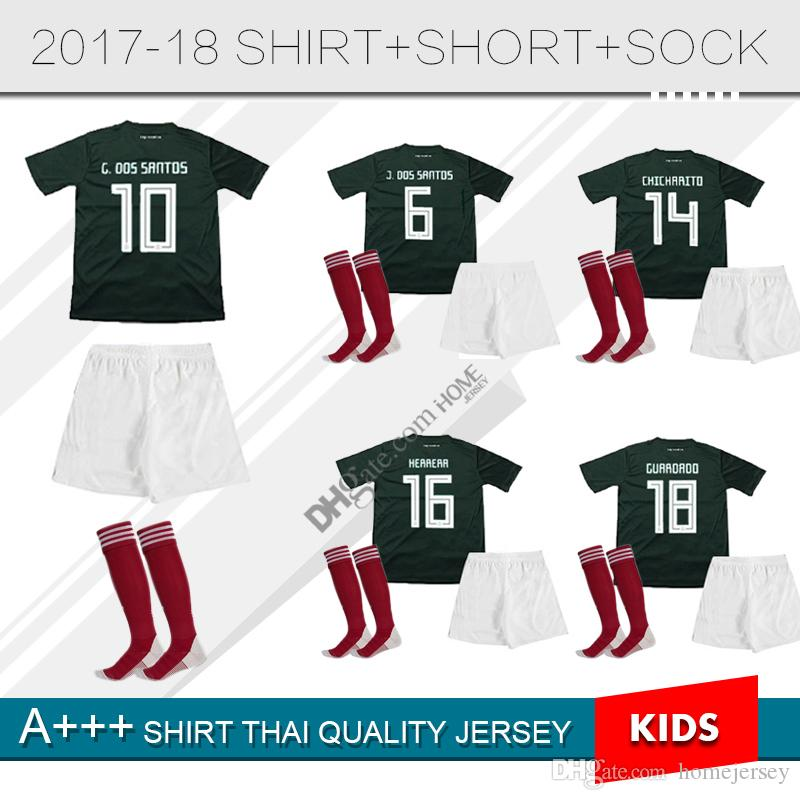 b4484726f 2018 Kids Kit A.Guardado G.Dos Santos Green Home Soccer Jersey Child Set  M.Layun H.Losano Chicharito Boys Football Shirts From Homejersey