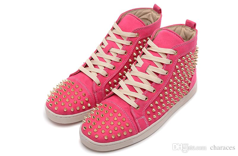 2018 New Arrival Men Sneakers Red Bottom High Top Fashion Casual Sports Shoes Mix Color Matter Leather With Full Spike Women Sneakers 35-47