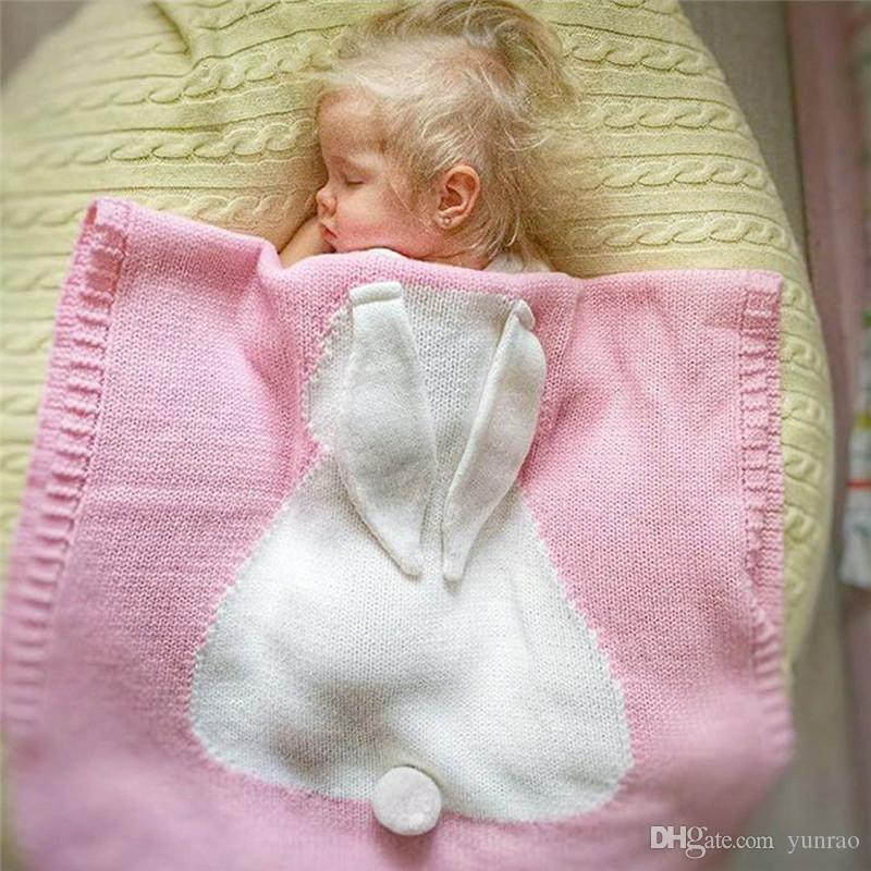 e0394c887d4e Baby Knitted Blankets White Gray Pink Rabbit Crochet Newborn Blanket ...