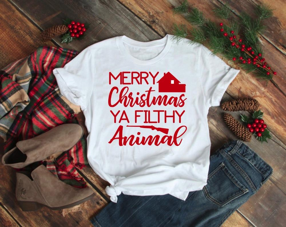 89a719aa Women's Tee Merry Christmas Ya Filthy Animal Unisex T-shirt Home Alone  Christmas Movie Gang Funny Graphic Casual Aesthetic Tumblr Shirt Tees