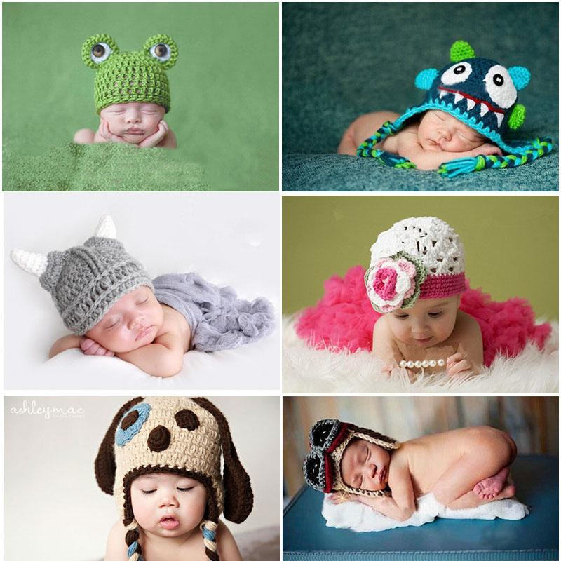 2018 hot sales newborn photography props hat infant boys girls crochet costume outfits knitting 0 6month baby photo accessories cap from kids show