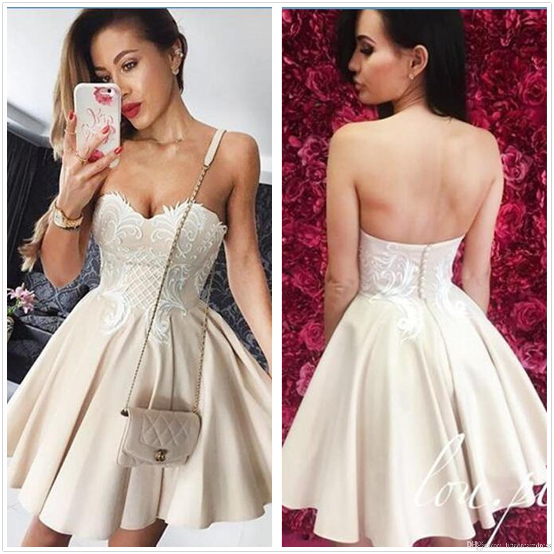 9f68cd96b78 2018 New Sweetheart Satin A Line Homecoming Dresses Lace Applique Ruffle Knee  Length Formal Party Cocktail Prom Dresses Dress Gowns Dresses For From ...