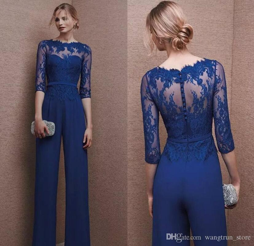 694cde084d9 Royal Blue 2019 Plus Size Mother Of Bride Pant Suit 3 4 Lace Sleeve Mother  Jumpsuit Chiffon Cocktail Party Evening Dresses Custom Made Sexy Mother Of  The ...