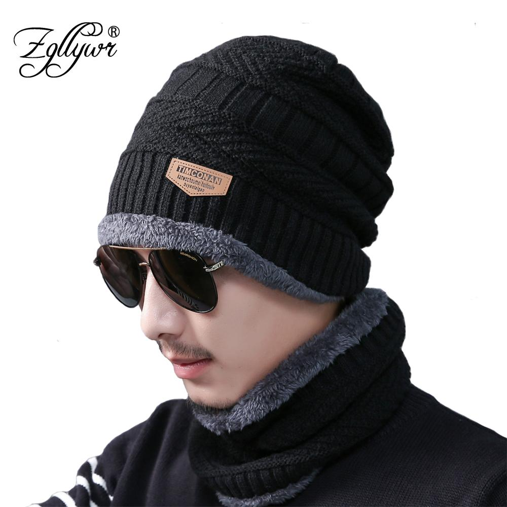 365cf86303654 Zgllywr 2-Pieces Men Winter Knit Hat Circle Scarf with Fleece Lining ...