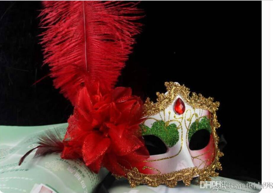 Factory direct diamond tip painted with sideband plus side flower ostrich feather dance party mask fashion party