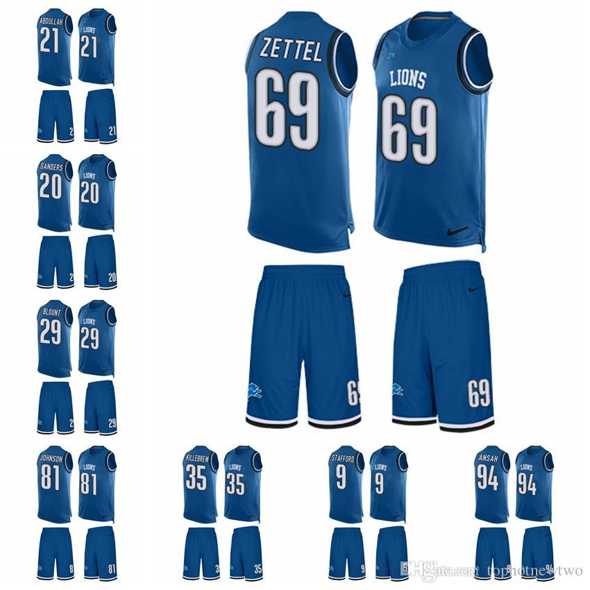 e86c5fc4436 2019 Detroit Limited Football Jersey Lions Light Blue Tank Top Suit ...