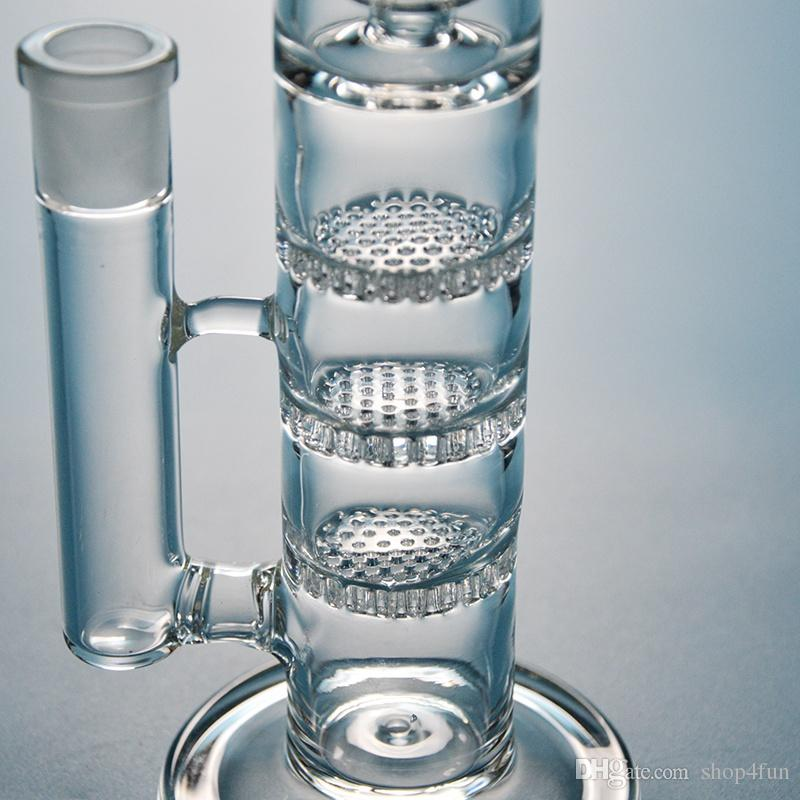 Straight Tube Glass Water Bongs Triple Percolator Bong Honeycomb Perc Water Pipes Birdcage Perc With Ash Catcher Dab Rigs 18mm Joint Oil Rig