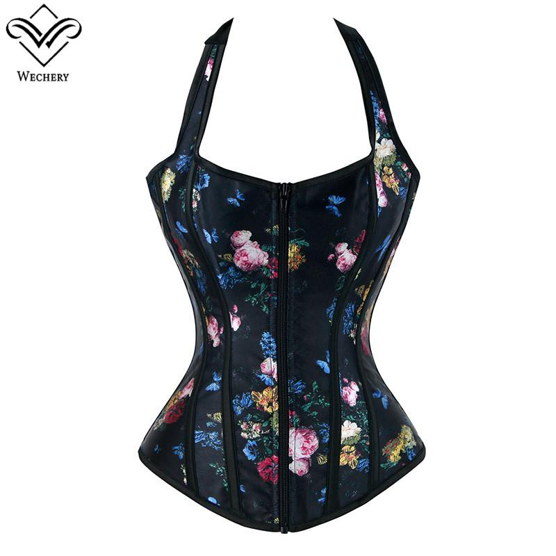 fb8016ddd6 Sexy Women Corsets Floral Print Bustiers Summer Outwear Boned ...