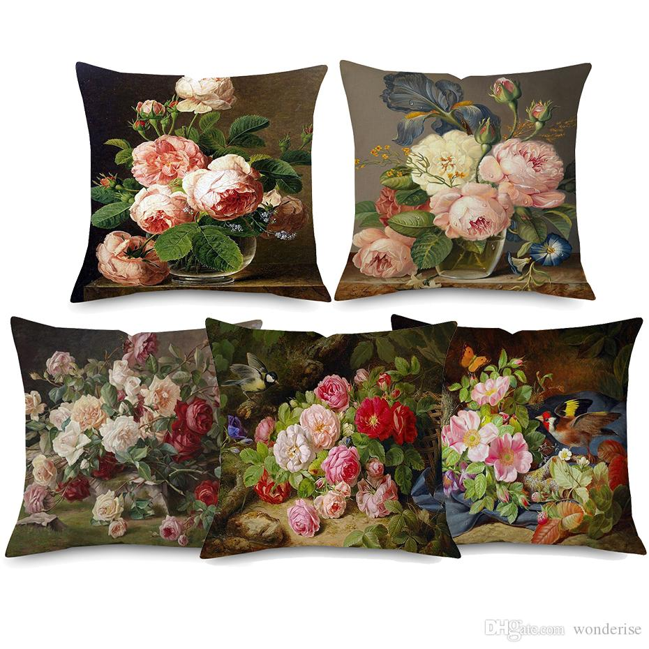 5 Styles Vintage Style Oil Painting Flower Cushion Covers European