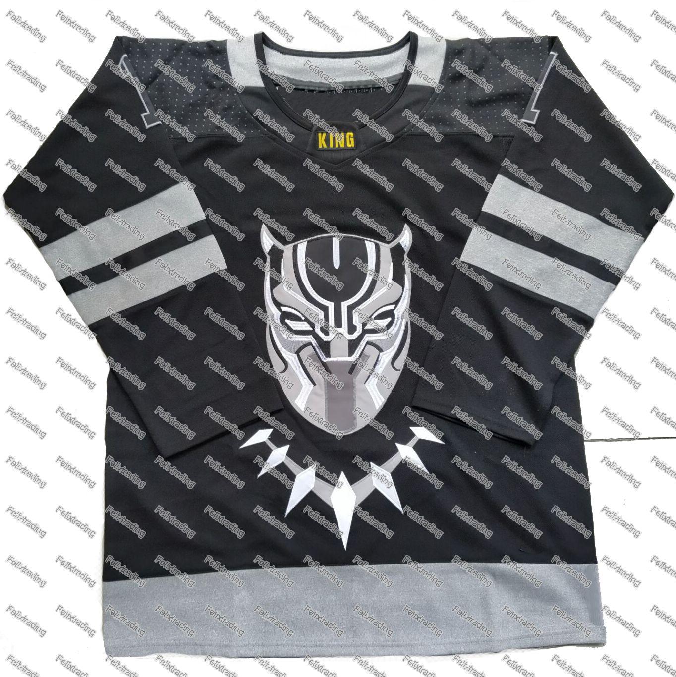 43190aa6c 2019 T Challa  1 The Black Panther Wakanda Hockey Jersey Black Custom Men  Women Youth Hockey Jerseys From Felixtrading