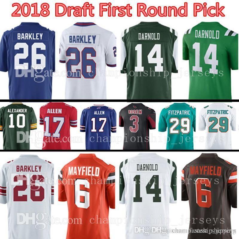 2018 Draft First Round Pick 17 Josh Allen 3 Josh Rosen 29 Minkah  Fitzpatrick 10 Jaire Alexander Jersey Miami Cardinals Bills Dolphins Jersey
