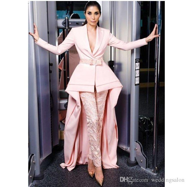Hot Sale High Low Jumpsuits Evening Dresses V Neck Pink Plus Size Lace Formal Evening Wear With Long Sleeves Satin Peplum Party Gowns