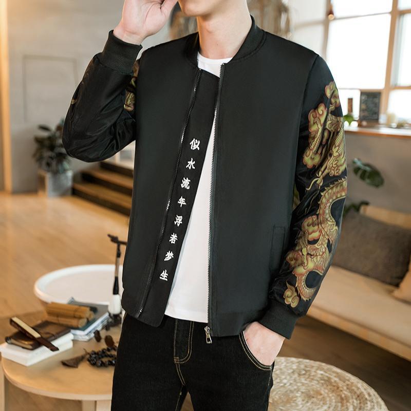 Großhandel Gold Print Bomberjacke Männer Chinesische Brief Drucken Schwarz  Vintage Jacke Männer Bomber Outwear Japanischen Casual Männlichen Plus 5xl  Von ... 9bc2326c29