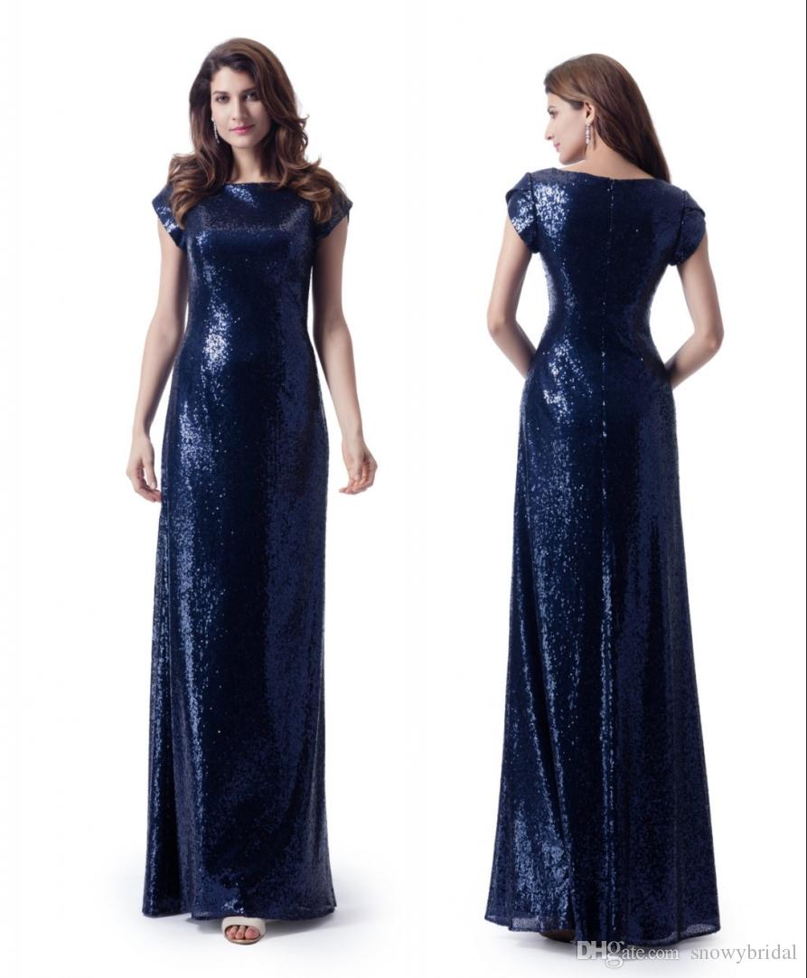 Navy Blue Sequins Long Modest Bridesmaid Dresses With Cap Sleeves ...