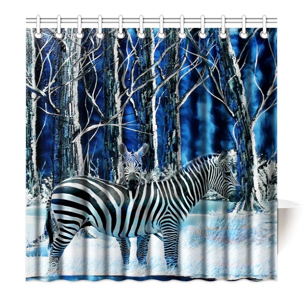 Shower Curtain Black White Stripes Zebra Animal Printing Waterproof ...