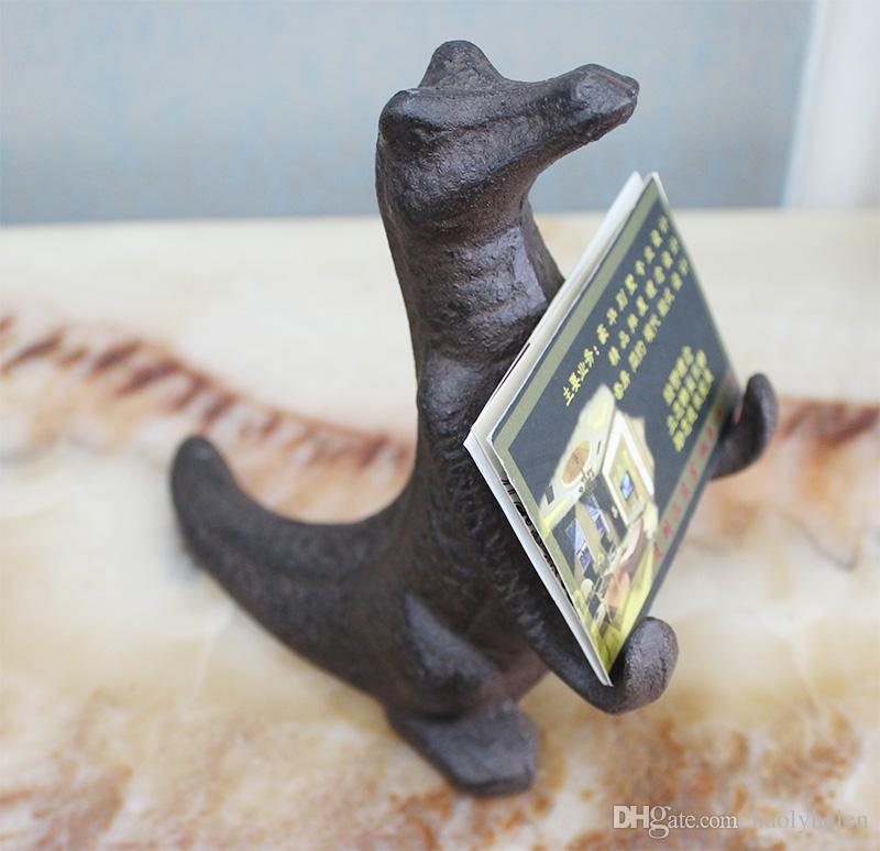 Cast Iron Crocodile Mobile Phone Holder Rack Brown Statuette Statue Figurine Buniess Card Rack Home Bar Pub Club Vintage Decor