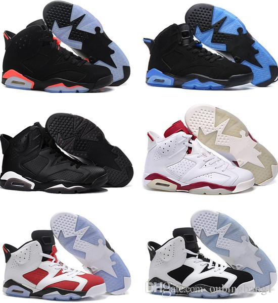d1270a146cdb39 Perfect Quality 6 Carmine Men Basketball Shoes Classic 6s UNC Black Blue  White Infrared Chrome Sport Blue Red Oreo Alternate Oreo Black Cat Sneakers  On Sale ...