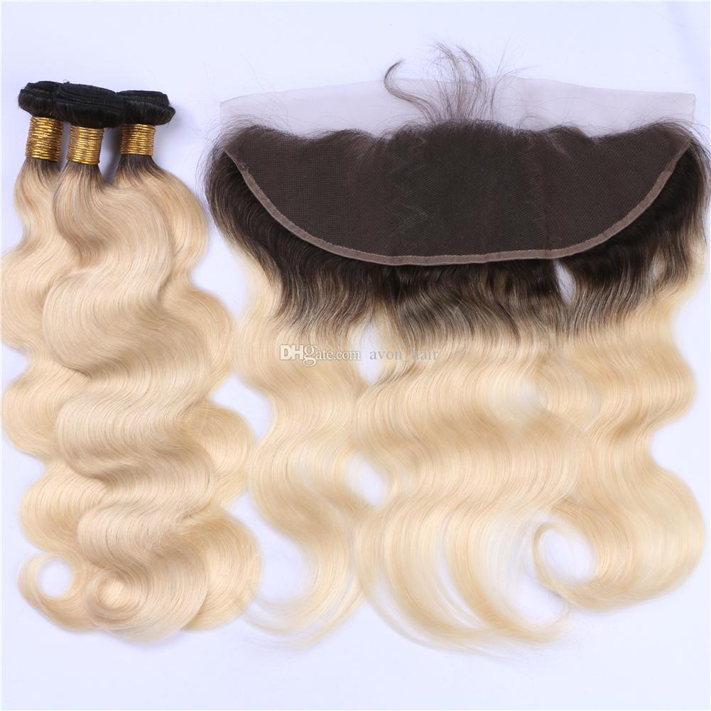 Blonde 1B 613 Hair 3Bundles With Lace Frontal 13x4 Dark Roots Blonde Ear To Ear Frontal With Virgin Hair Extension
