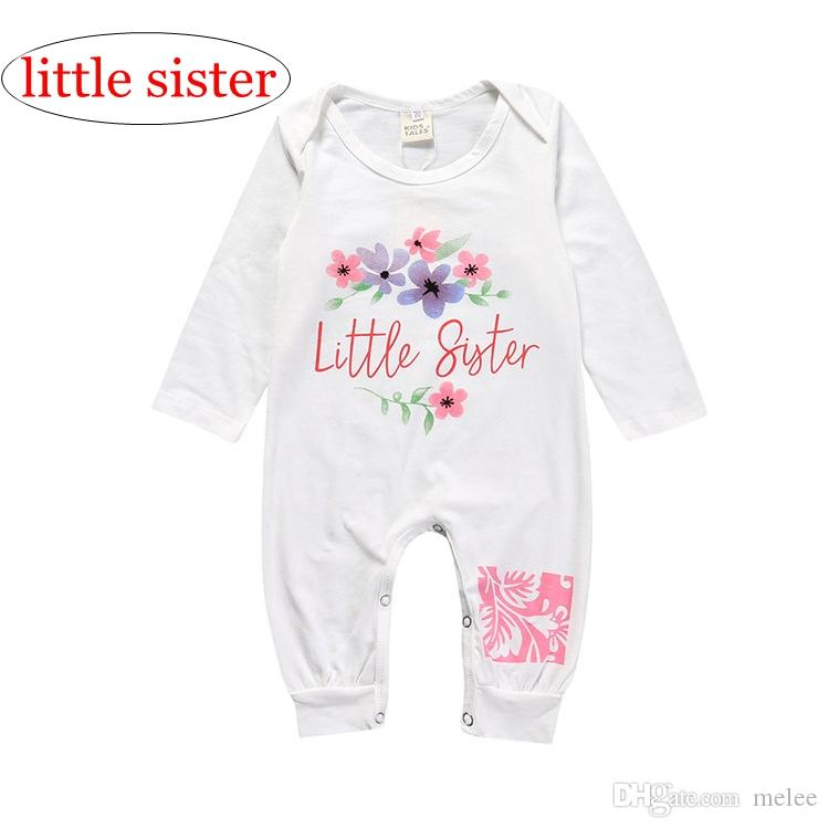 2bb3c379c784 2019 Little Sister Letter Print Summer INS BABY COTTON Flower Rompers Print  Jumpsuits Kids WHITE Animal Print Long Sleeved Rompers From Melee