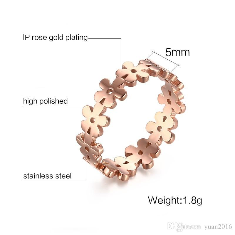 Womens Stainless Steel Filigree Jewelry Flower Shape Engagement Promise Band Ring Rose Gold Plated