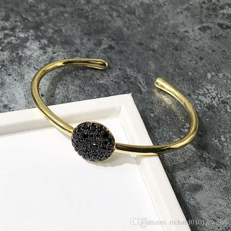 New style Fancy coloured diamond cuff Bangle with mushroom shape accessories titanium steel Silver gold Bracelets for Women fashion Jewelry