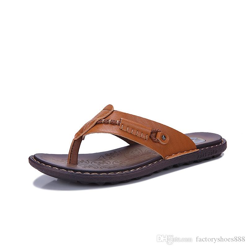 436ac1dacfd7 Men S Flip Flops Leather Beach Sandals Casual Slippers Summer Cool Sandals  Sports Outdoor Shoes Size 38 47 AXa002 Winter Boots For Women Boots Online  From ...