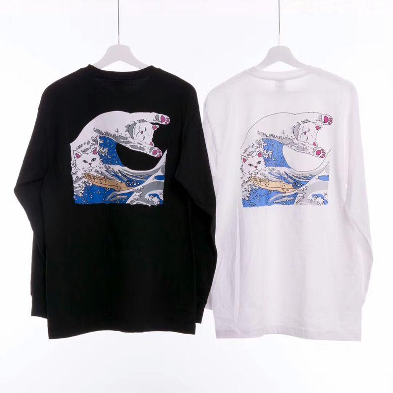35188f971fc1 Ripndip Great Wave Tee Men S Cat Nermal Print Long Sleeve 100% Cotton T  Shirt Women Men Boys Skateboard Tees Black White LLWH1016 Cute T Shirts  Nerd T ...
