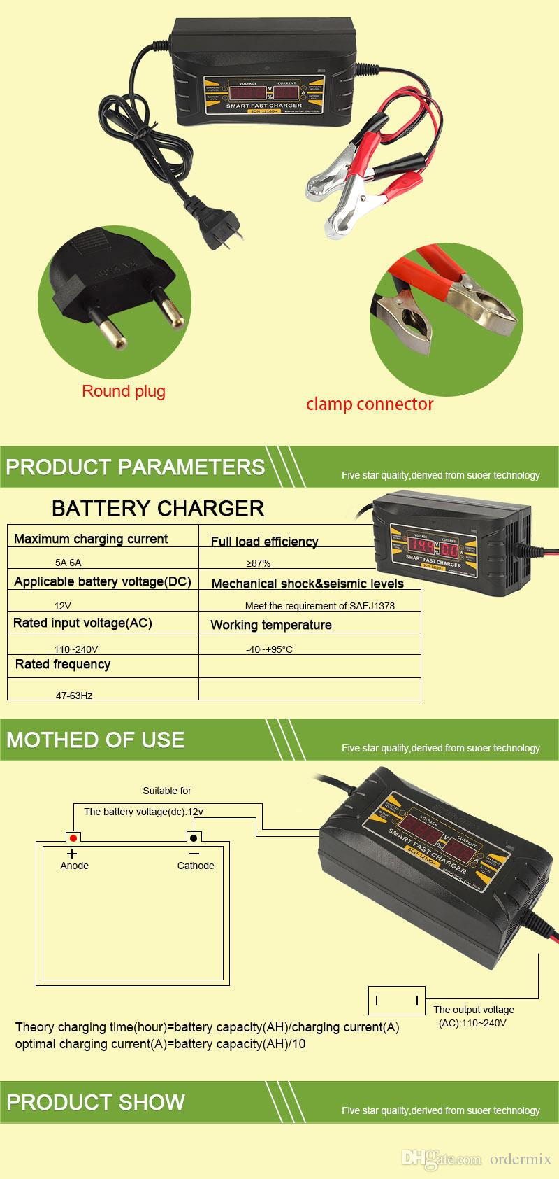 شاحن بطارية السيارة التلقائي بالكامل 110 فولت / 220 فولت إلى 12 فولت 6a 10a الذكية سريع الطاقة لشحن الرطب الجاف حمض الرقمية lcd عرض