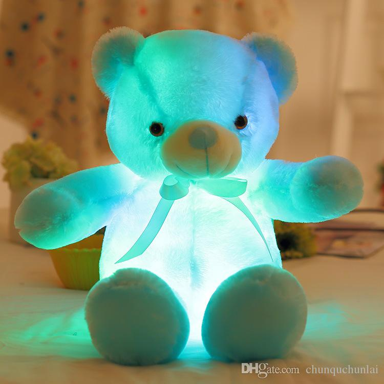 Creative Light Up LED Inductive Teddy Bear Stuffed Animals Plush Toy Colorful Glowing Teddy Bear Birthday Gift, Valentine's Day Gift