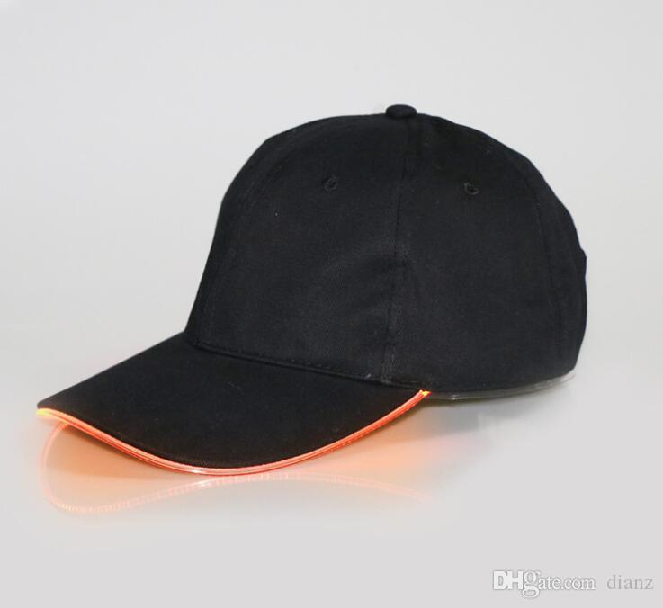 New Arrive LED Light Hat Glow Hat Black Fabric For Adult Baseball Caps Luminous For Selection Adjustment Size Xmas Party