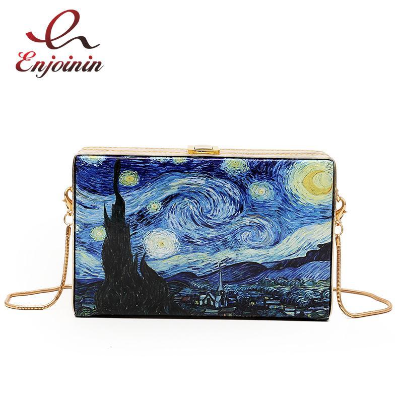 Fashionable Oil Painting Cartoon Vintage Box Style Ladies Party Clutch Bag  Shoulder Bag Tote Crossbody Mini Messenger Bag F Y18102604 Ladies Bags  Leather ... c10783033b5e