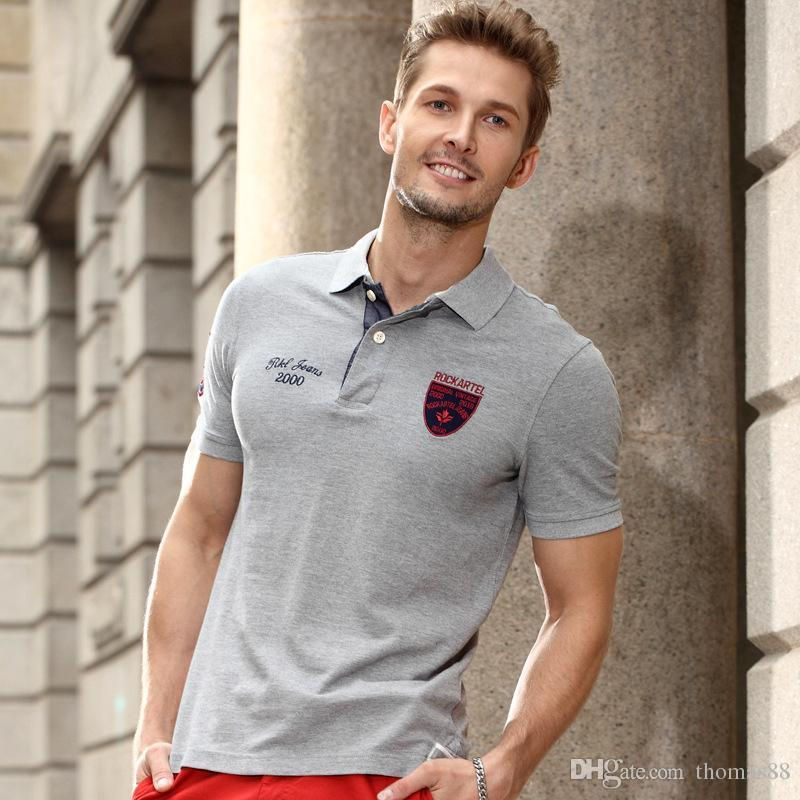 a1fd49bae2 2019 Men Cotton Polo Shirt Business Casual Solid Male Polo Shirt Short  Sleeve Top Tee Clothing From Thomas88