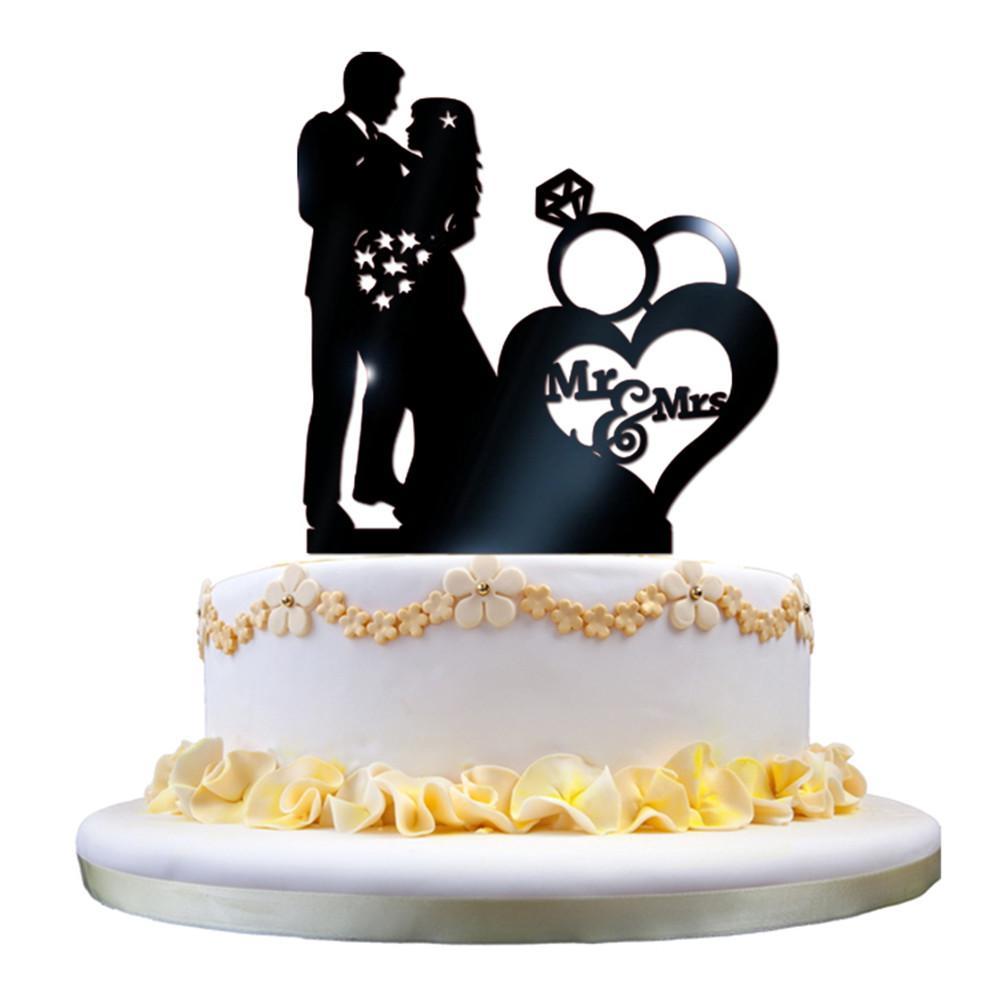 Grosshandel Mrmrs Acryl Hochzeitstorte Topper Glitter Gold Kuchen