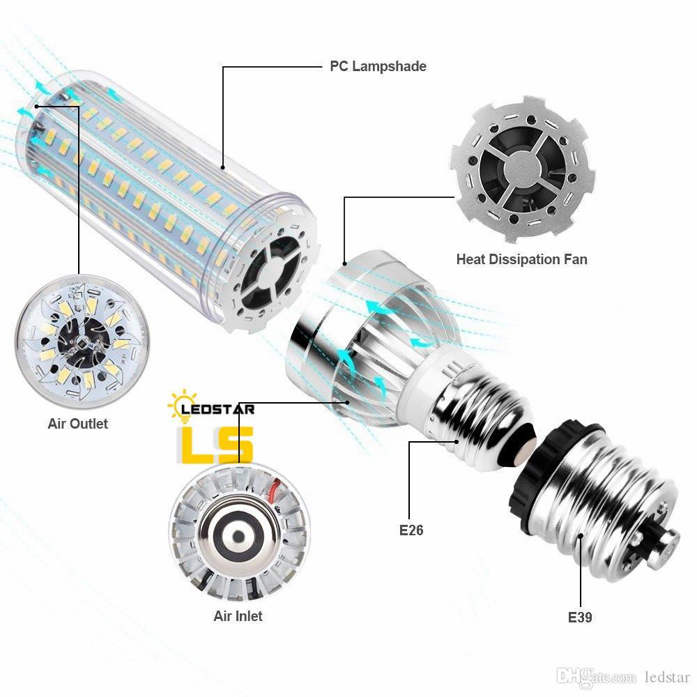 50W Super Bright Corn LED Glühbirnen E26 mit E39 Large Mogul Base Adapter kaltweiß 5500 Lumen für großflächige Beleuchtung