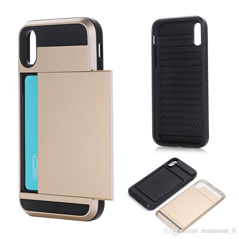 huge selection of d0ce6 7db21 Customize Slide Credit Card Slot Holder Phone Case for iPhone XS Max XR 7 6  8 Plus X Case Dual Armor Silicone Coque