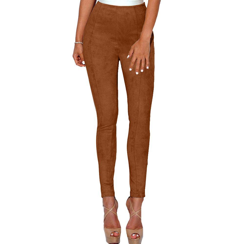 de12390f69eca 2019 2019 Sexy Women Lulu Faux Suede Leggings Solid High Waist Skinny Pants  Push Up Bodycon Pencil Trousers Winter Pantalon Femme XL From Feeling07, ...