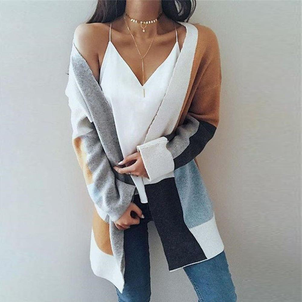 fda19664a83f68 2019 Women Winter Baggy Cardigan Coat Long Chunky Knitted Oversized Sweater  Jumper Color Block Stitching Sweater Coat Cardigan From Rachaw