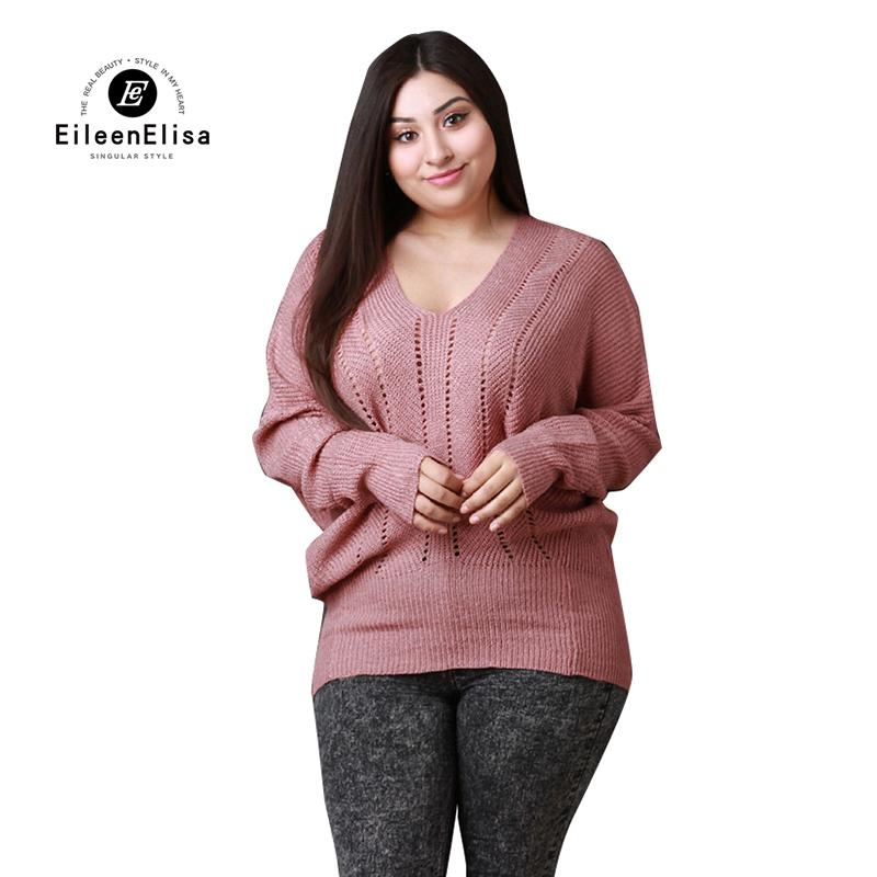 9a13435a83 2019 Eileen Elisa Large Sweaters Women Oversized Knitted Sweater Batwing  Sleeve Top Winter 2018 From Yujiu