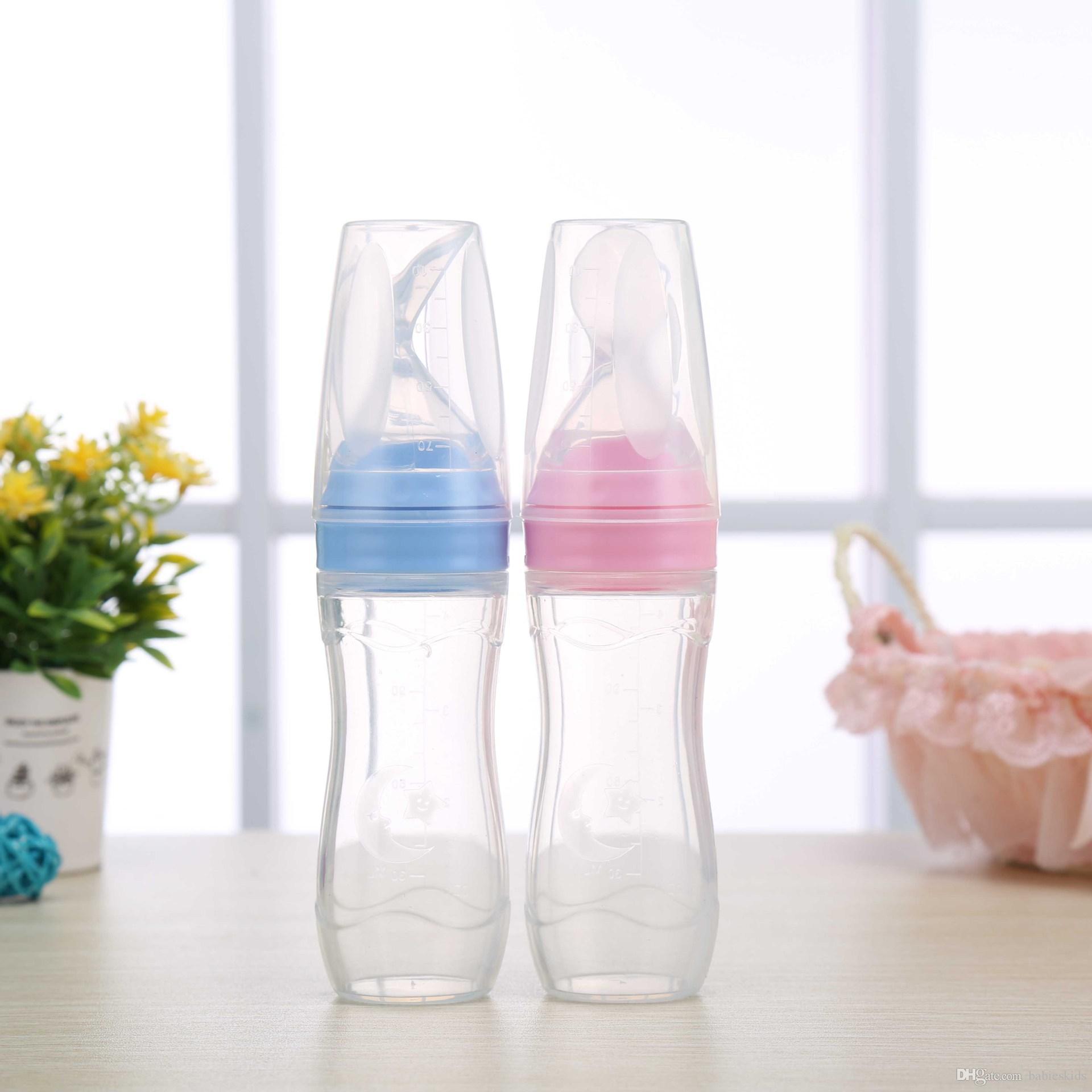 1 قطعة الطفل الضغط تغذية ملعقة الوليد طفل هلام السيليكا زجاجة المكملات الغذائية الأرز الحبوب المكملات الغذائية الطاعم الآمن المائدة