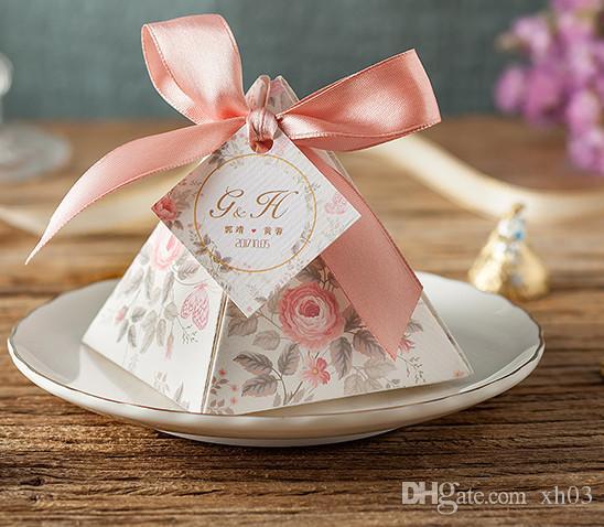 Custom Made Card Wedding Favor Box Flower Gift Box Creative Triangle