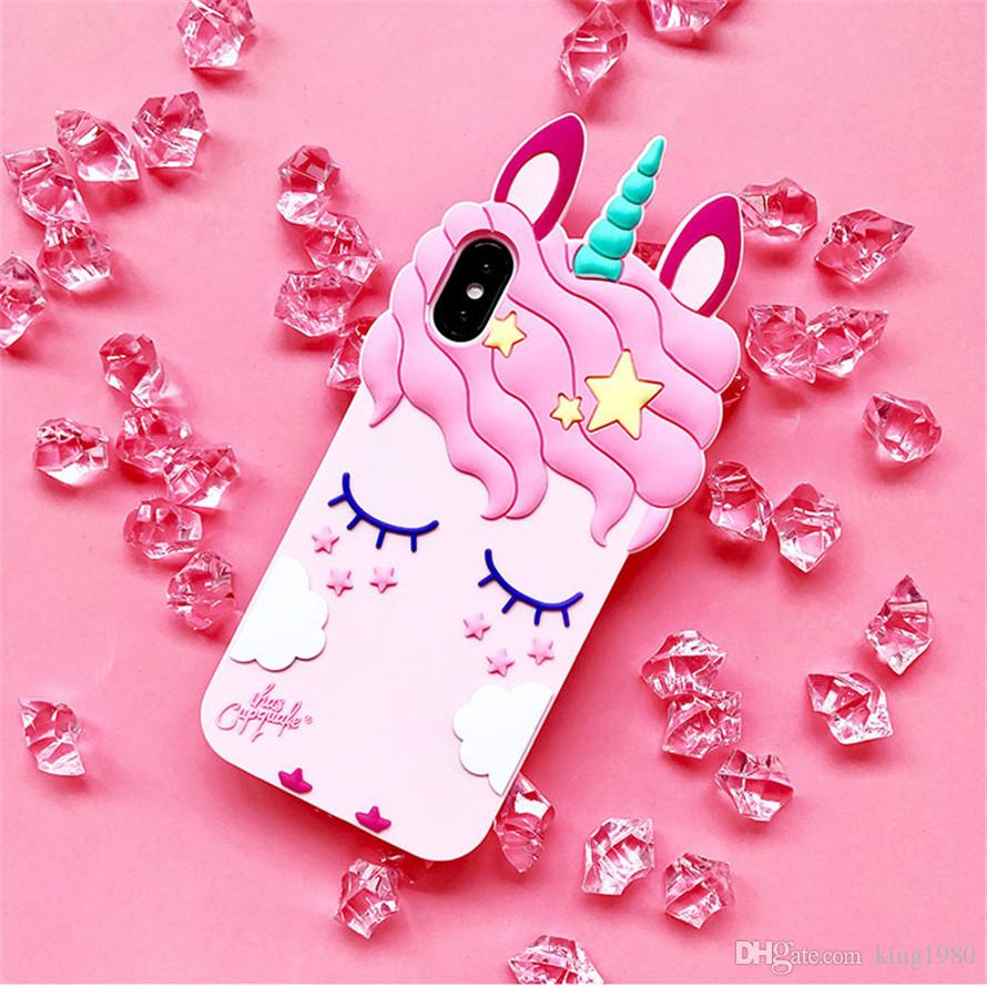 Pink Rubber Silicone Cute Horse with Long Eyelash Unicorn Shape Phone Case for iphone X Girls
