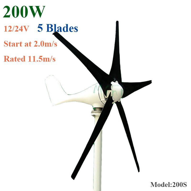 200W Wind Turbine Generator 12V/24V 2.0m/S Low Wind Speed Start, 5 3 Blades 650mm For Home Use , Street Light System Wind Turbine For Home Homemade Wind ...