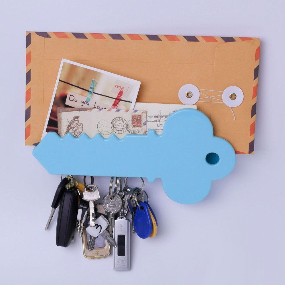 Wall Mounted Giant Key Shape Magnetic Key Holder Mail Organizer Box