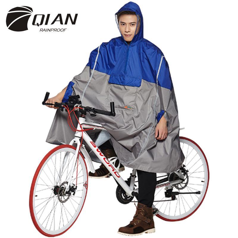 9f6174c92 Compre QIAN Impermeável Bicicleta Capa De Chuva Mulheres   Homens Mochila  Ciclismo Escalada Passeio Capa De Chuva Multifuncional Capuz Poncho De Chuva  ...