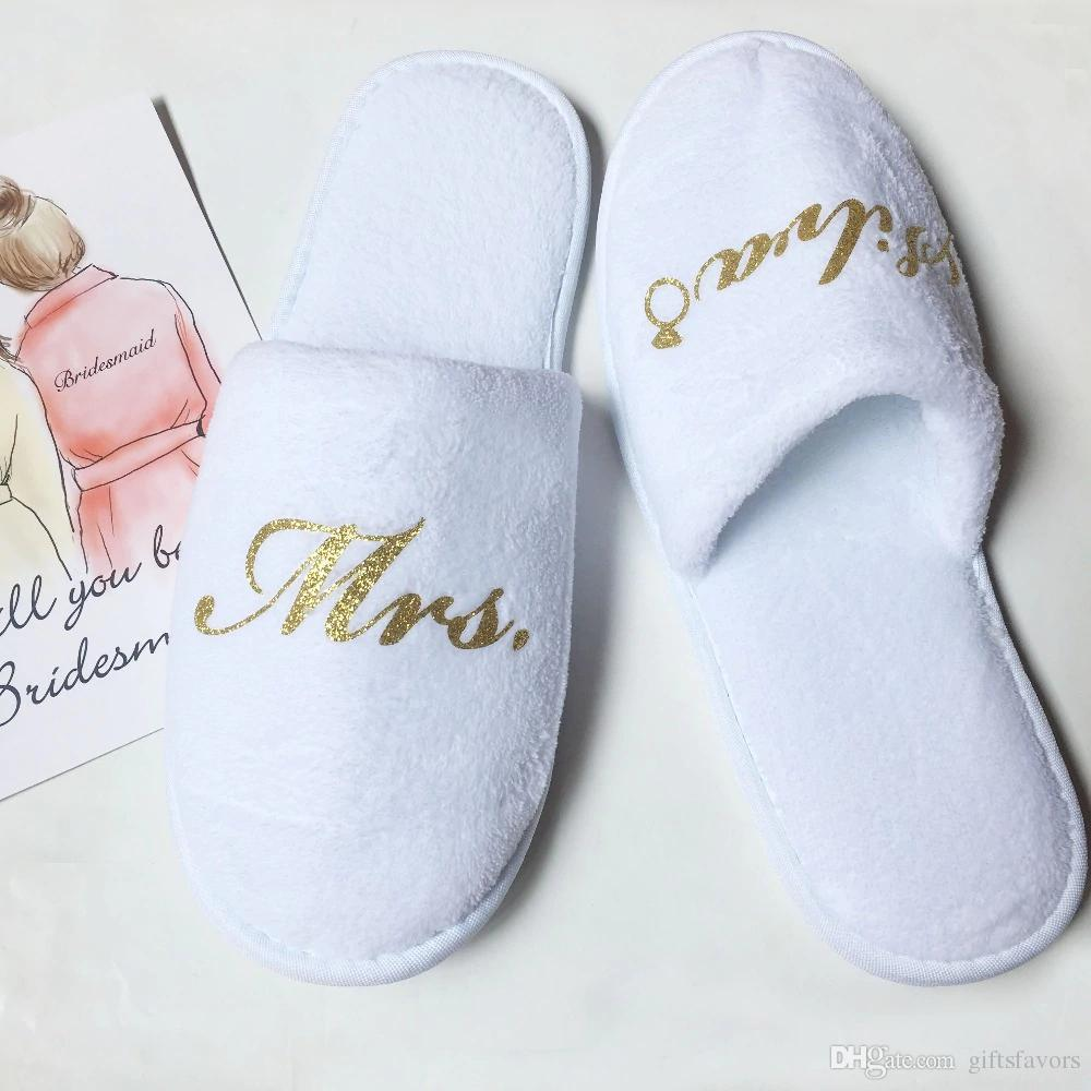 personalized Bridesmaid slippers maid of honor gifts wedding bridal shower party gift printing glitter logo 4 pairs lot wholesale