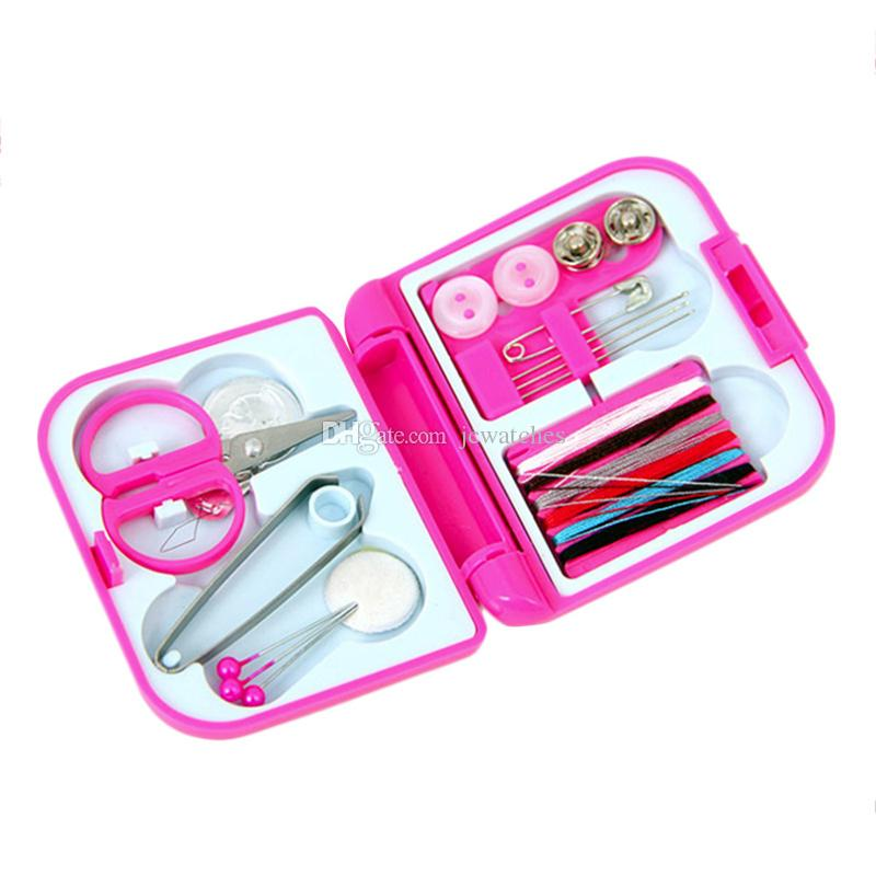 Portable Travel Sewing Kits Box Mini Needle Threads Buttons Scissor Thimble Portable Home Tools Travel Set
