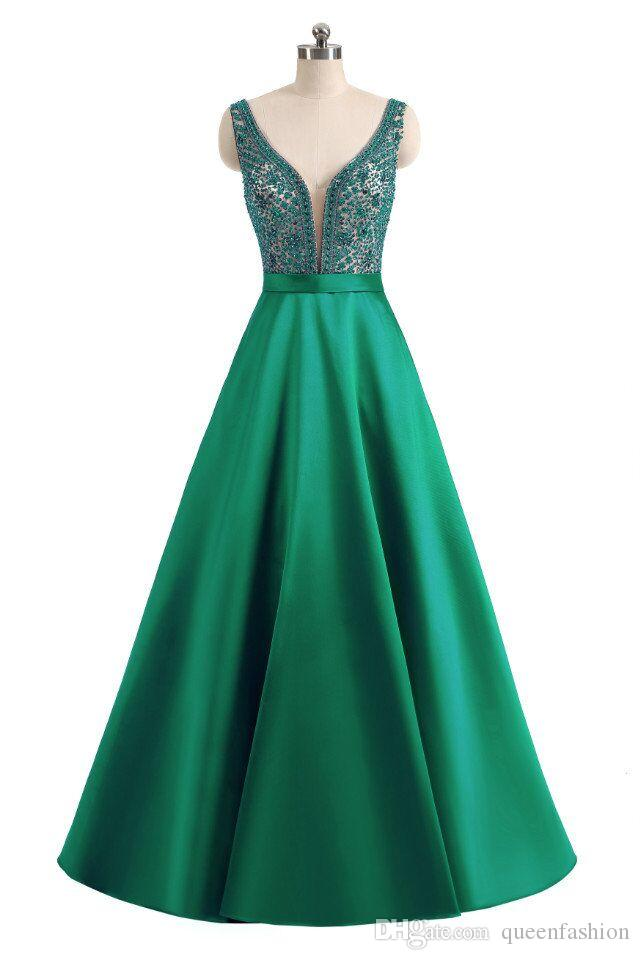 Long Crystal Beaded Evening Prom Dresses with Pockets Deep V Neck Illusion Sheer Bodice Graduation Dresses Low Back Floor Length Ball Gown