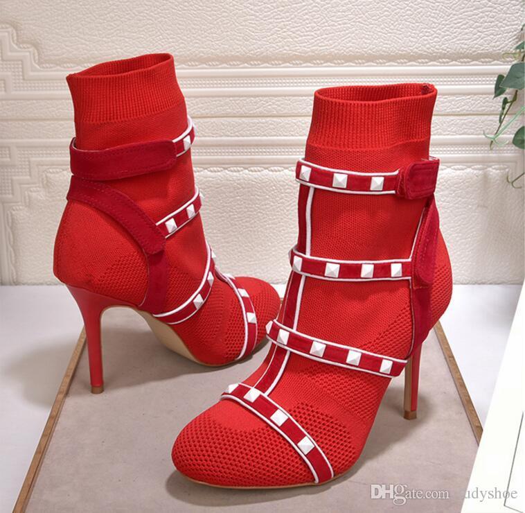 2018 sexy rot grün elastische Stiefeletten für Frauen High Heels Gestrickte weiße Nieten verzierte Stretch-Socke Schuhe Frauen chaussure femme